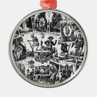 Tarot cards pattern Silver-Colored round decoration