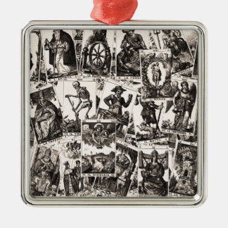Tarot cards pattern Silver-Colored square decoration