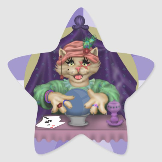 TAROT CAT AutoCollant round Stickers Star Stickers