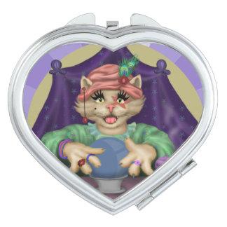 TAROT CAT CARTOON compact mirror HEART