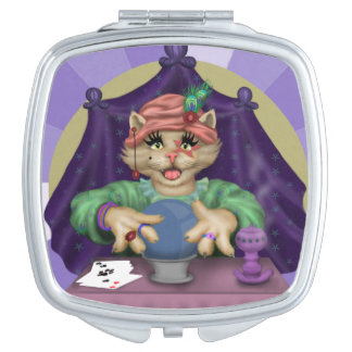 TAROT CAT CARTOON compact mirror SQUARE