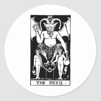 Tarot 'devil' classic round sticker