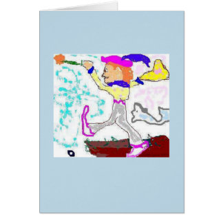Tarot Fool Greeting (periwinkle background) Card