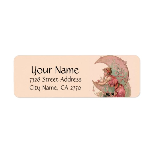 TAROTS/ LADY OF THE MOON,FLOWERS IN PINK RETURN ADDRESS LABEL