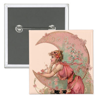 TAROTS / LADY OF THE MOON WITH FLOWERS IN PINK 15 CM SQUARE BADGE