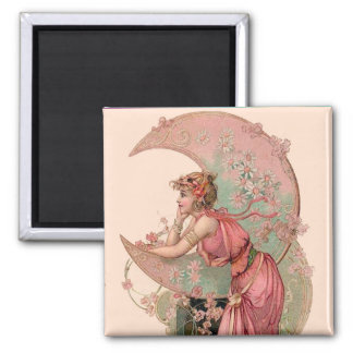 TAROTS / LADY OF THE MOON WITH FLOWERS IN PINK SQUARE MAGNET