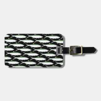 Tarpon pattern on black luggage tag