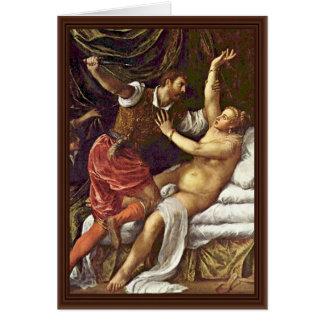 Tarquinius And Lucretia By Tizian Greeting Cards