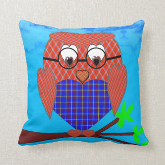 Tartan and Hearts Owl Throw Cushion