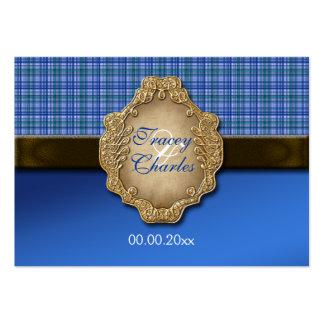 Tartan blue brown wedding seating business card
