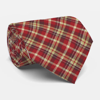 Tartan Check Plaid Red Single Sided Tie