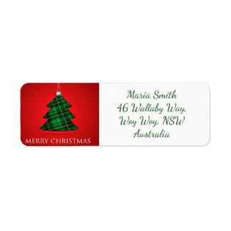 Tartan Christmas bauble Return Address Label