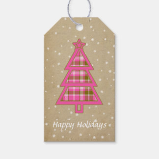 Tartan Christmas Tree Hot Pink and Olive ID211 Gift Tags