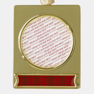 Tartan Fabric Pattern Gold Plated Banner Ornament