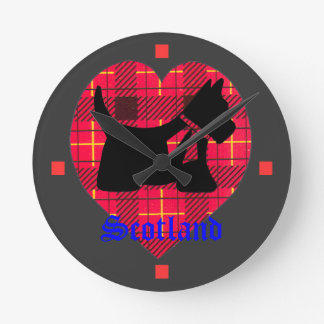 Tartan Heart & Scottie Dog Wall Clock
