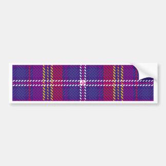 Tartan,multicolor,trendy,red,purple,yellow,white Car Bumper Sticker