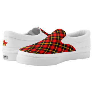 Tartan Pattern, Chequered Red, Black, Yellow Slip-On Shoes