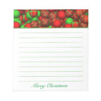 Tartan Pattern Christmas Tree Ornaments Notepad