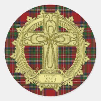 Tartan Plaid Celtic Cross Christmas Xmas Round Sticker