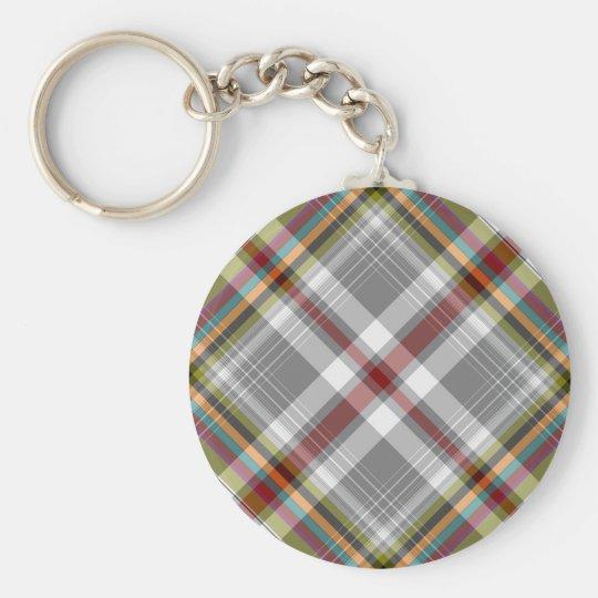 Tartan plaid design basic round button key ring
