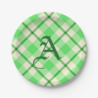 Tartan Plaid Green St. Patrick's Day 7 Inch Paper Plate