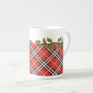 Tartan Plaid & Holly Bone China Christmas Mug