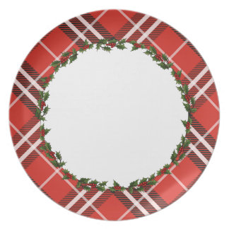 Tartan Plaid & Holly Holiday Cookie Plate