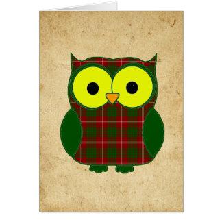 Tartan Plaid Owl Birthday Card