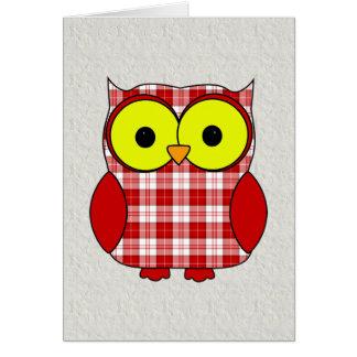 Tartan Plaid Owl V10 Birthday Card