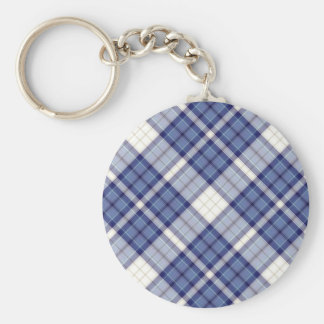 Tartan Plaid Pattern Collection - Blue 07 Basic Round Button Key Ring
