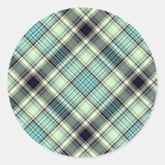 Tartan Plaid Pattern Collection - Green - 02 Round Sticker