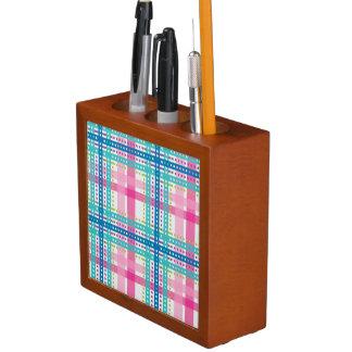 Tartan, plaid pattern desk organiser