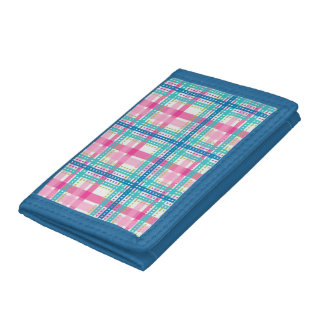 Tartan, plaid pattern tri-fold wallet