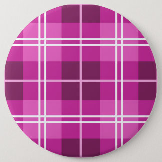 Tartan Plaid Style Pattern in Shades of Pink 6 Cm Round Badge