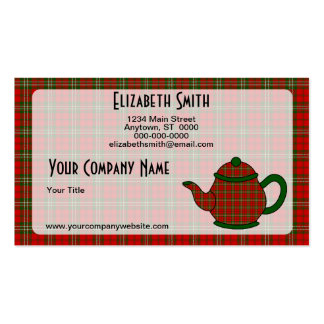 Tartan Plaid Teapot V5 Pack Of Standard Business Cards