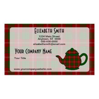 Tartan Plaid Teapot V7 Pack Of Standard Business Cards
