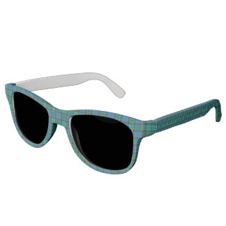 Tartan plaids pattern - traditional blue green sunglasses