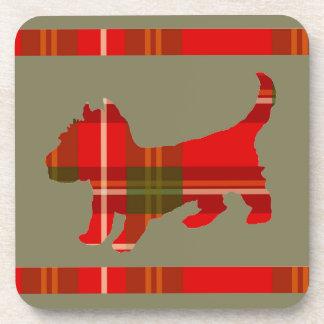 Tartan Puppy Design on Set of Coasters