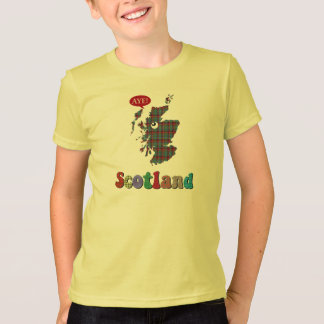 Tartan Scotland Aye Map T-Shirt