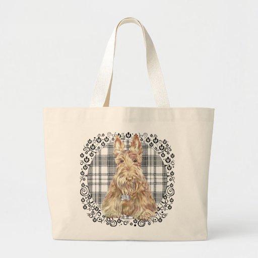 Tartan Scottie Black &  White Canvas Bags