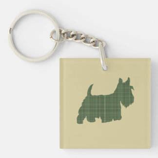 Tartan Scottie Double-Sided Square Acrylic Key Ring