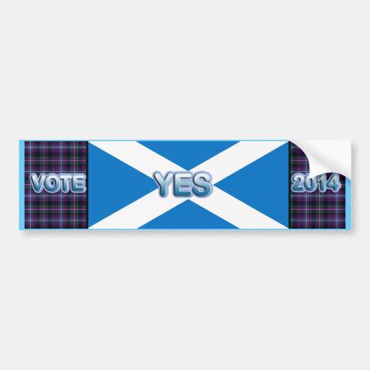 Tartan Scottish Independence Yes 2014 Flag Bumper Sticker
