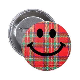 Tartan Scottish Smiley 6 Cm Round Badge