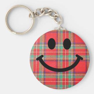 Tartan Scottish Smiley Basic Round Button Key Ring