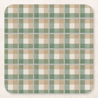 Tartan Square Paper Coaster