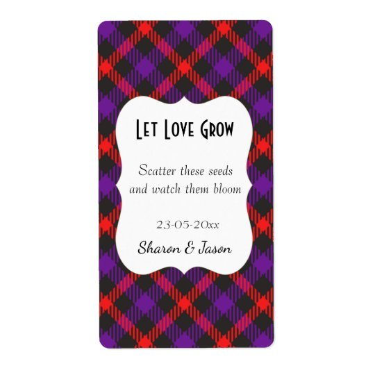 Tartan Wedding Favour Seed Pack Label Let Love