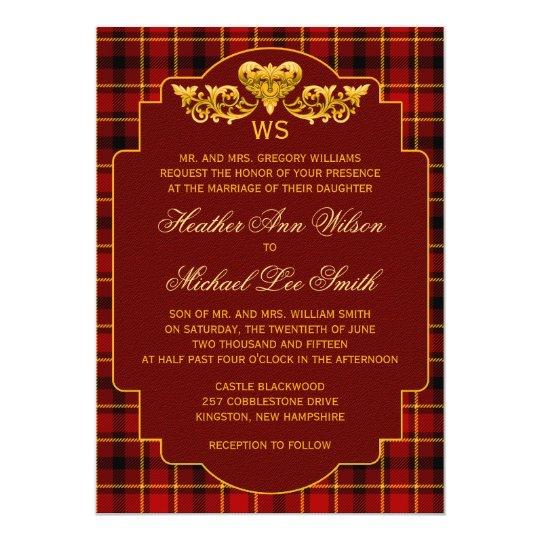 Tartan Wedding Red Black Gold Plaid Pattern Card
