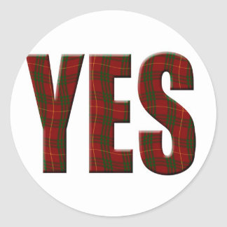 Tartan Yes Classic Round Sticker
