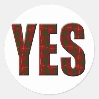 Tartan Yes Round Stickers