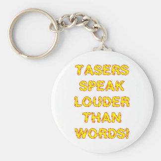 Tasers speak louder than words basic round button key ring